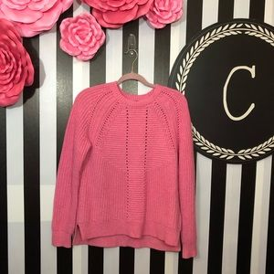J. Crew   Pink Wool Blend Pointelle Cable Sweater